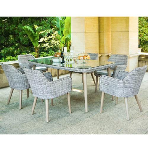 Conjunto seattle natural 7 piezas conjunto de fibra for Conjunto exterior jardin