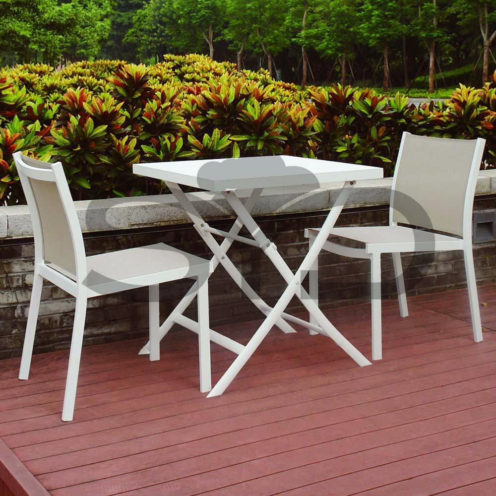 Sill n apilable aluminio blanco exterior y jard n for Casitas de aluminio para jardin