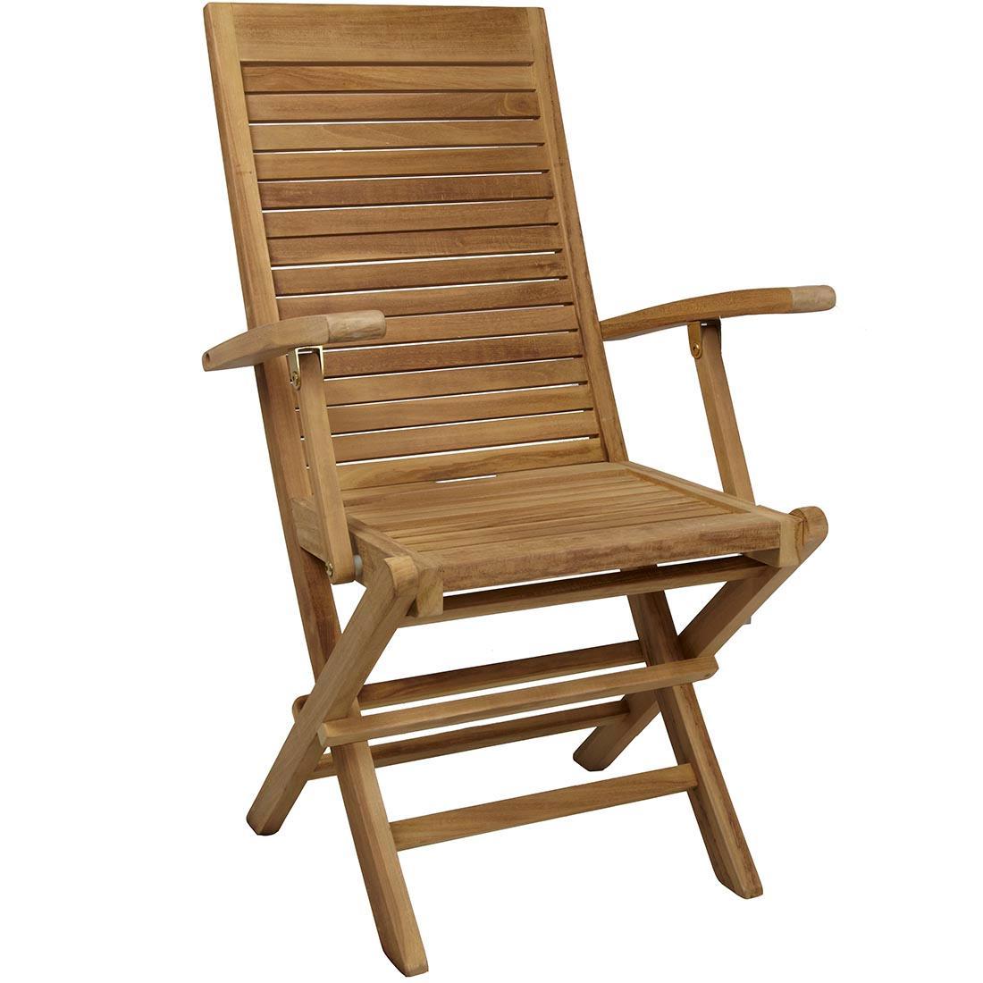 Silla sunny con brazos plegable y reforzada teca oferta for Oferta sillas jardin