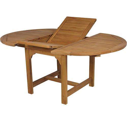 Mesa redonda extensible teka jard n y exteriores oferta - Mesa de madera exterior ...