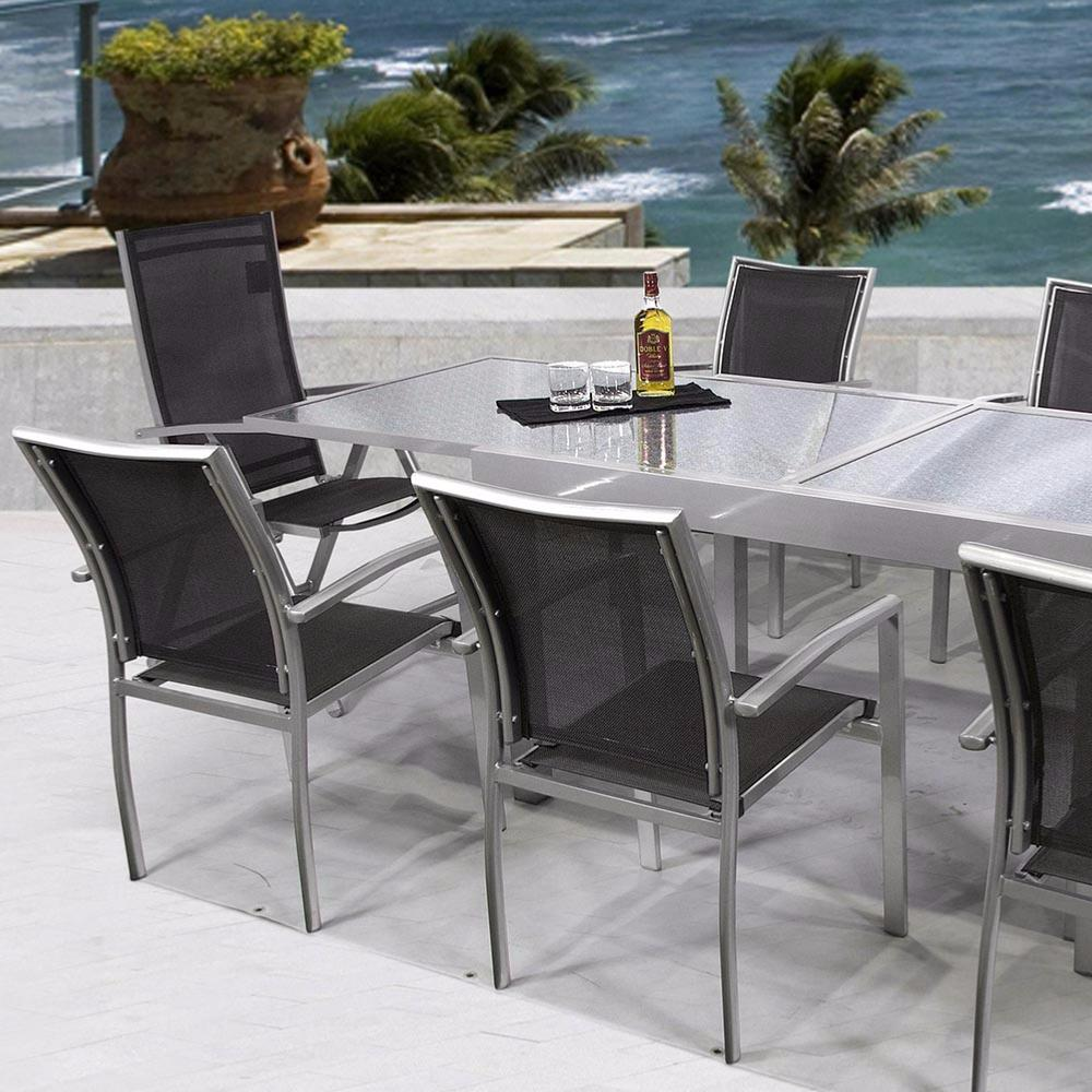Mesa rectangular extensible aluminio color gris brillo for Conjunto jardin barato