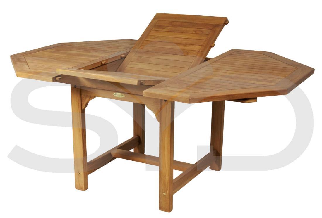 Mesa octogonal extensible teca jard n y exteriores for Muebles de teca interior