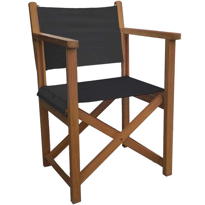 Silla director con brazos plegable y reforzada teca for Oferta sillas plegables