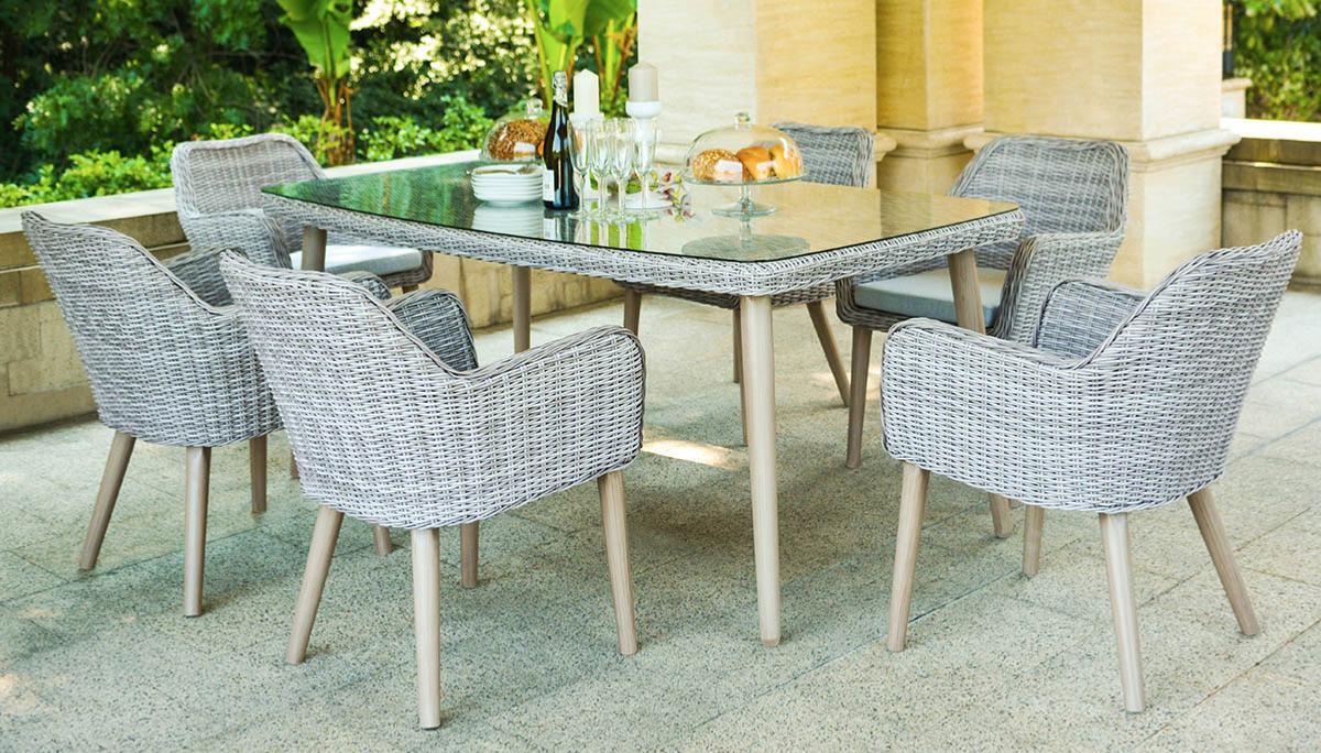 Mesa seatle mesa de fibra sint tica de jard n y for Conjunto rattan sintetico barato