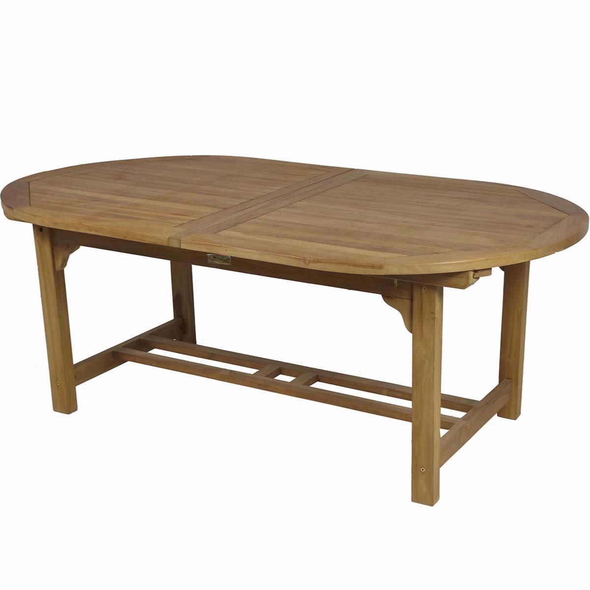 Mesa oval extensible teca jard n y exteriores - Mesa de teca ...