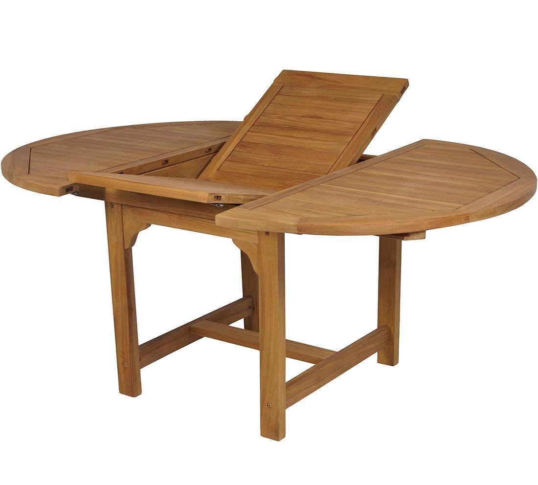 Mesa redonda extensible teca jard n y exteriores oferta - Mesa redonda exterior ...